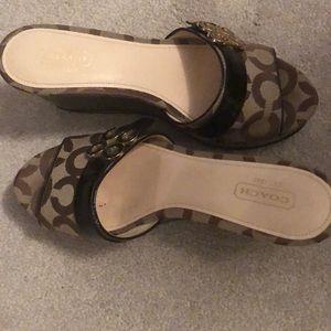 "Ladies "" Coach "" high heel sandals.  Size 6.5"